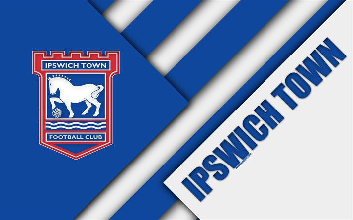 Download wallpapers Ipswich Town FC, logo, 4k, blue white abstraction, material design, English football club, Ipswich, England, UK, football, EFL Championship