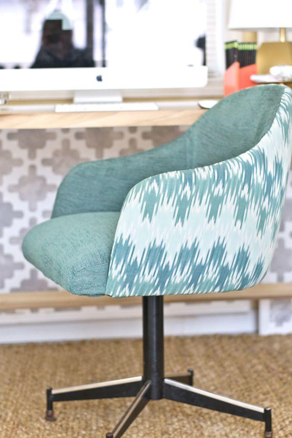 sarah m. dorsey designs: Ikat Chevron Office Chair ReUpholstery