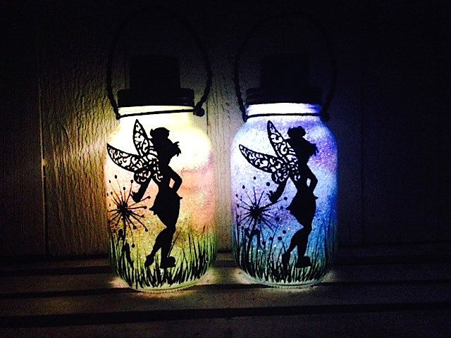 Tinker Bell Fairy Day OR Night Mason Jar Light Outdoor Solar Light Hand Painted Mason Jar Hanging Lantern Quart Size Outdoor Lighting