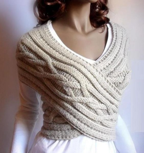 Cable Knit Pull Over Sweater Crop Top