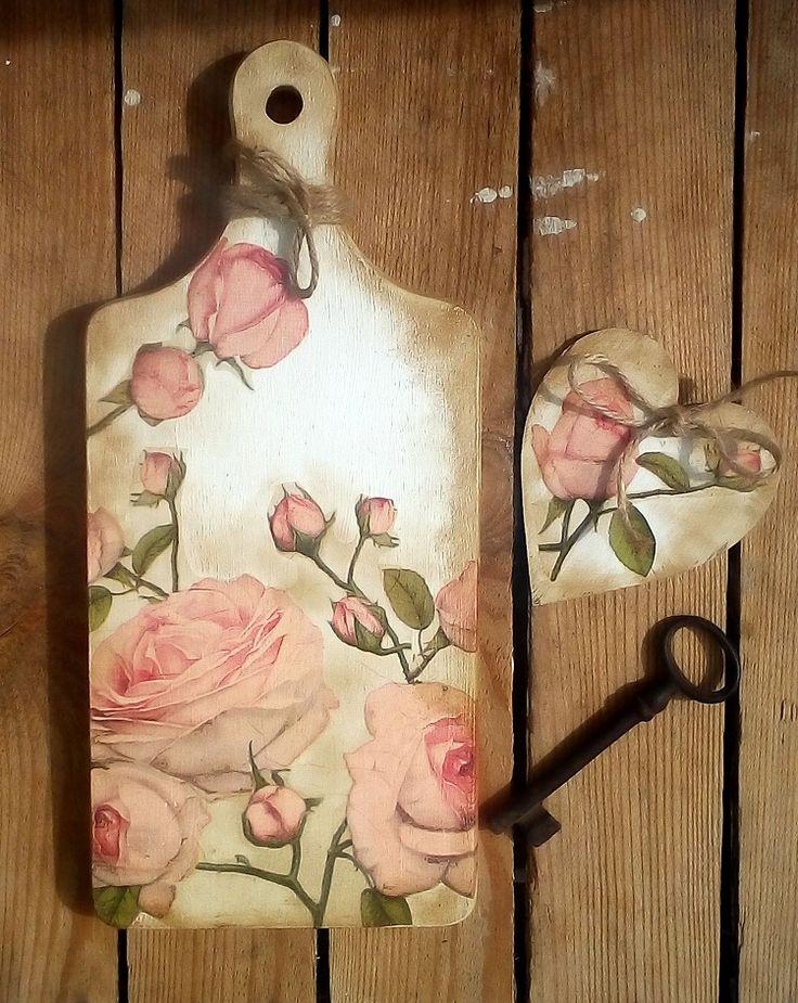deseczka, róże, decoupage