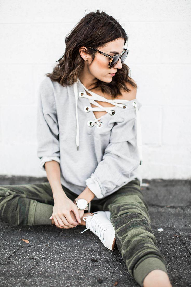 Off the shoulder lace up sweatshirt & camo sweatpants