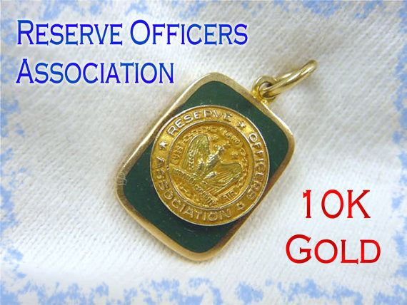 10K GOLD ~ ROA Reserve Officers Association ~ Green Enamel Pendant Charm Watch Fob - Military