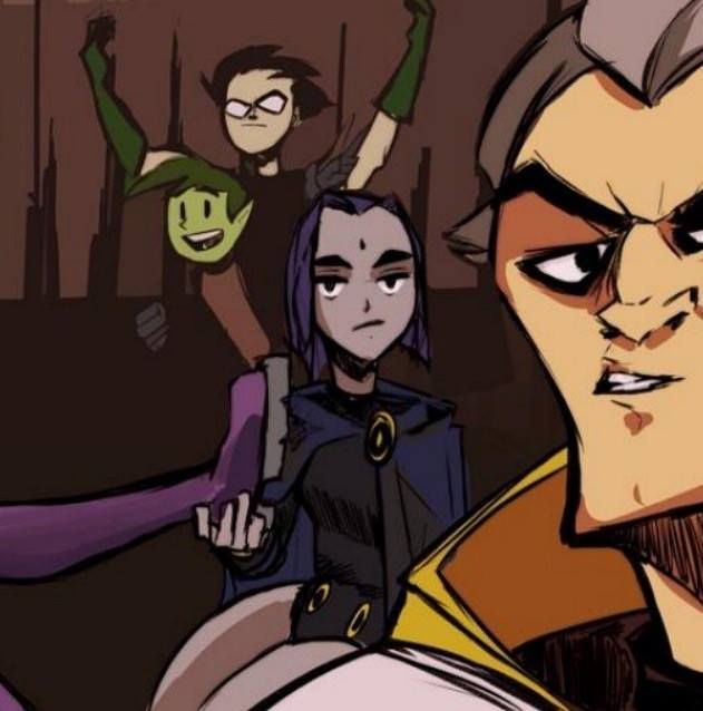 Robin, Beast Boy, Me and Brother Blood...........Also Starfire's leg....