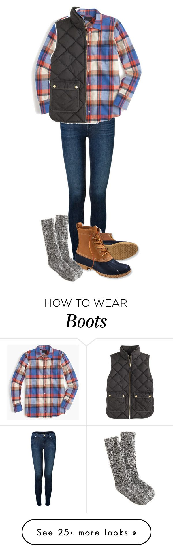 """Duck Boots and Vests"" by northernprep-nl12 on Polyvore featuring J Brand, J.Crew and L.L.Bean"
