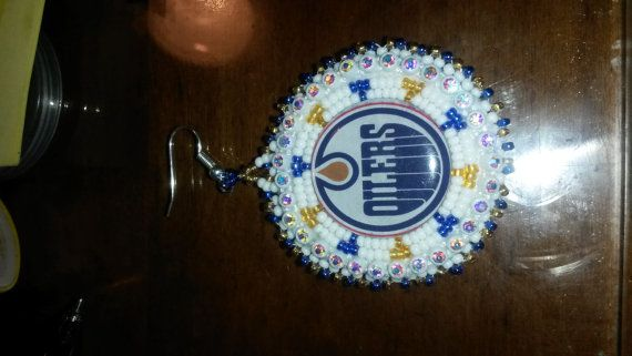 Check out this item in my Etsy shop https://www.etsy.com/listing/201091222/oilers-beaded-earrings-a-must-have-for-a