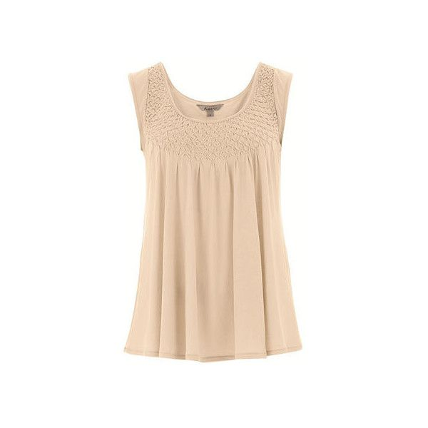 Smock Front Top (900 ARS) ❤ liked on Polyvore featuring tops, smock tops, beige top and smocked top
