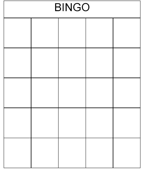 bingo card template | Description: A series of bingo cards ranging in size from 3x3 to 6x6.
