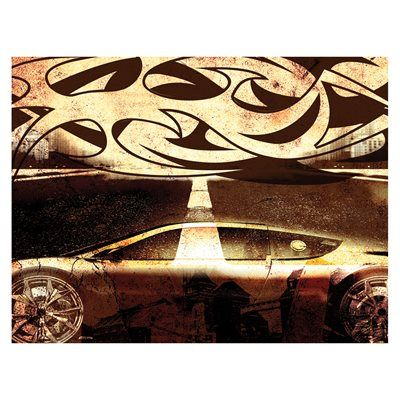 J.P. London Design, Inc. PMUR2111 Tribal Wheels Street Racing Tattoo Peel and Stick Removable Wall Mural
