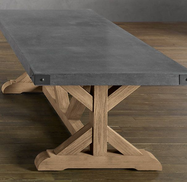 """Simple, Yet Still Makes a Statement"". Restoration Hardware - Concrete Rectangular Dining Table"