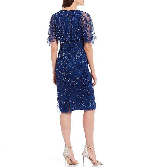Adrianna Papell V Neck Beaded Knee Length Dress Dillard S In 2020 Dress Length Knee Length Dress Dresses