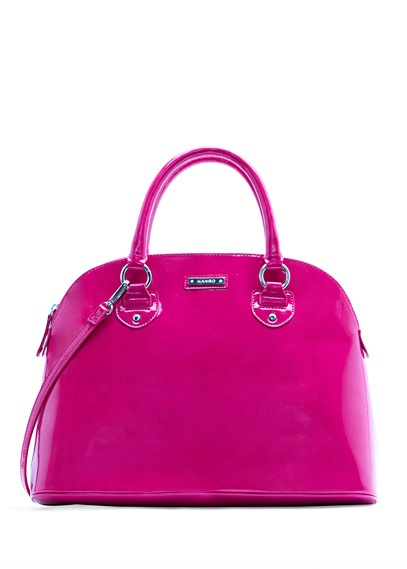 MANGO - BAGS - Shiny bowling handbag in fuchsia. I love this shade of purple, so unexpected on a handbag!