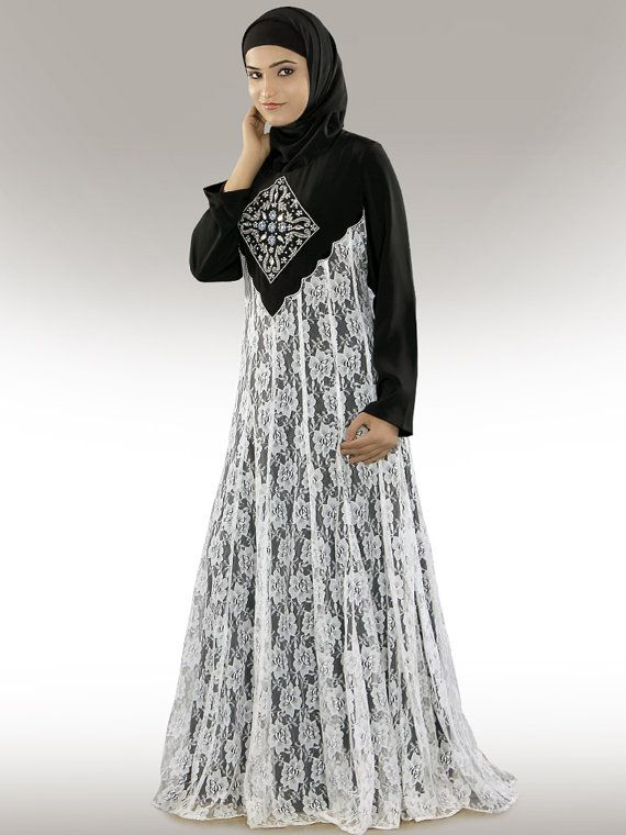 Shaista Elegant Party Wear Abaya/Jilbab AY239 Black and by MyBatua, $81.70