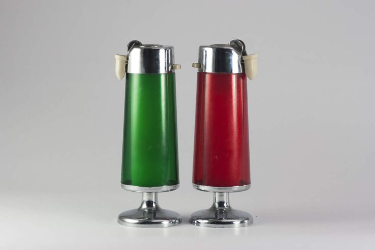 Set of vintage table lighters, Refillable table lighter, vintage desk lighter, smoker gift, Vintage decor, red lighter, green lighter, by yesterdaysgaze on Etsy