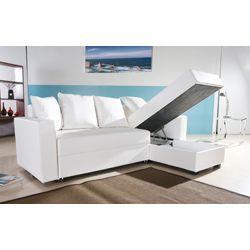 San Jose White Convertible Sectional Storage Sofa Bed