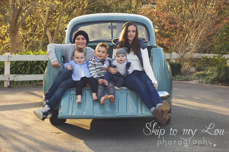 Family in holden FX ute family photography - Skip to my Lou Photography - Melbourne - 5 kids large family