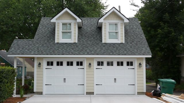 2 Car Garage With Room In Attic Trusses, Cape Cod Style