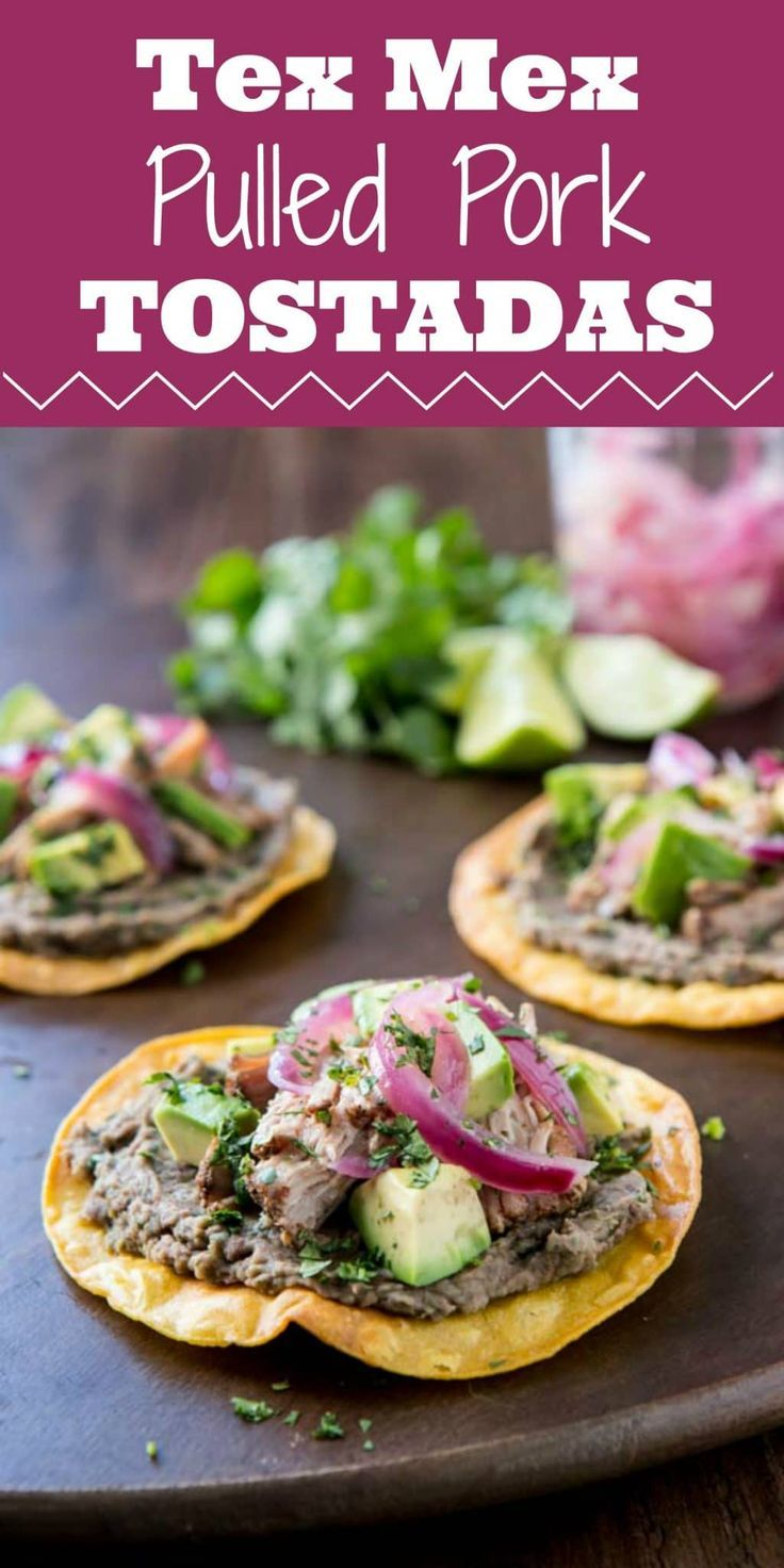 Tender pork, cilantro and lime refried beans and sweet and sour onions will have you drooling over this Tex Mex Slow Cooker Tostada recipe and one of my favorite tex mex foods! #mexican #pulledpork #slowcooker