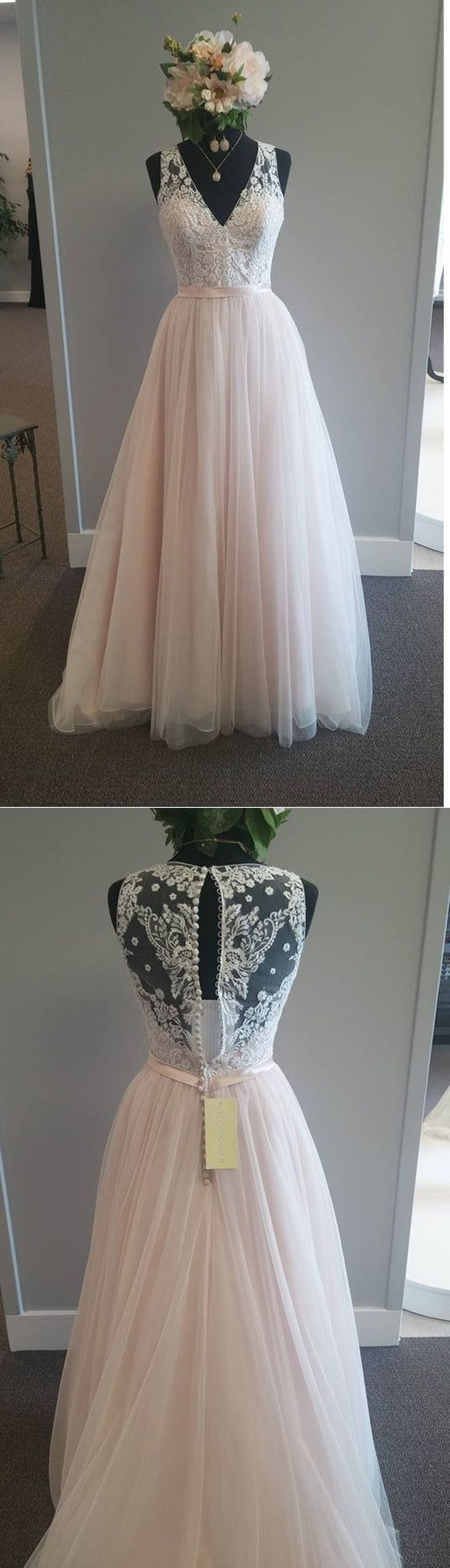 A-line Wedding Dresses,Elegant Wedding Gown,Light Pink Wedding Dresses,V-neck Br…