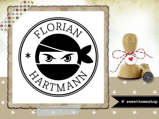 Namen & Monogramme - Namensstempel * NINJA * Ø 30 mm - ein Designerstück von sweethomeshop bei DaWanda
