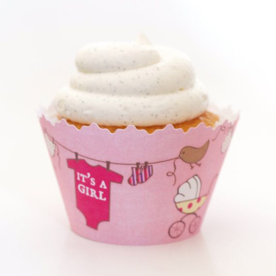 Its a Girl Baby Cupcake Wrappers Set of 12 Baby by simplywrappers, $6.95