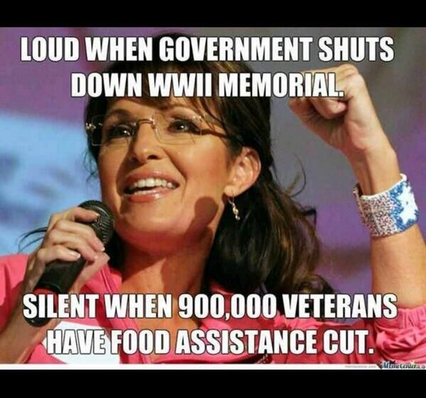 Sarah Palin's hypocrisy #GOPHatesVets. One member of the clown car.  Wacky.  When will she learn she is irrelevant?