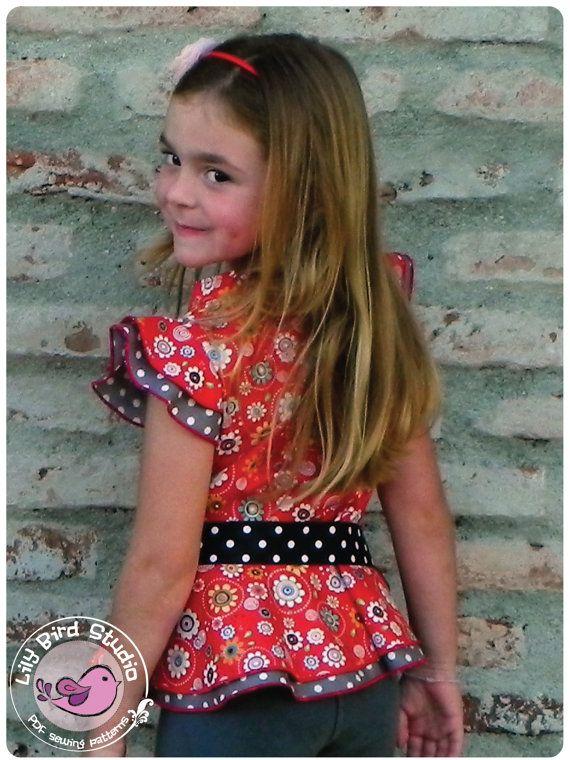 Lily Bird Studio PDF sewing pattern Amy's peplum top / blouse -  12 mths to 10 yrs - overskirt, mandarin style collar, ruffle sleeves, $8.50