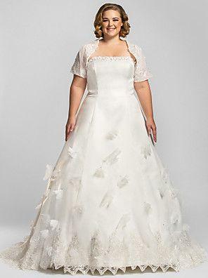 Lanting Bride® A-Linie Übergrößen / Extraklein Hochzeitskleid - Klassisch & Zeitlos / Glamurös & Dramatisch Hochzeitskleider mit Schal