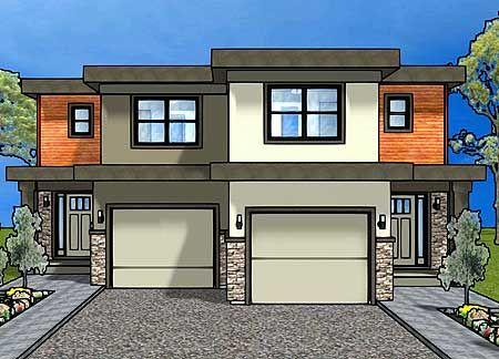 Plan 67718mg duplex house plan for the small narrow lot for Contemporary duplex plans