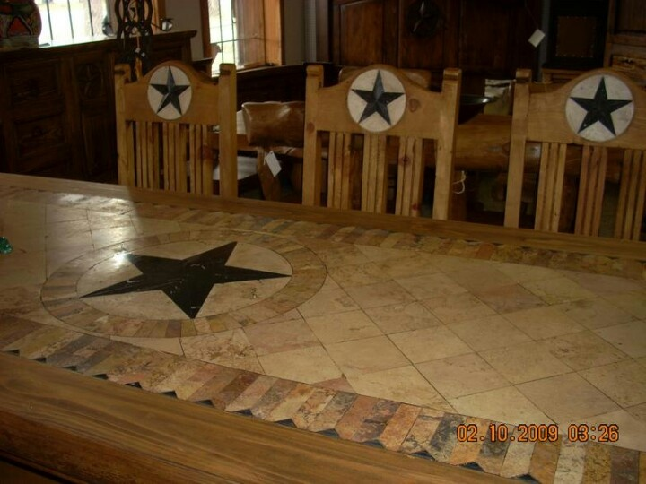 Rustic Star Wood U0026 Marble Top Dining Table