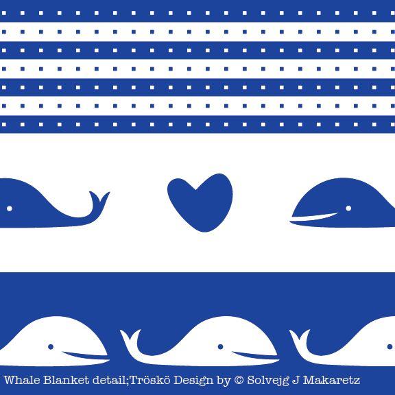 Whale blanket detail; Tröskö Design by © Solvejg J Makaretz