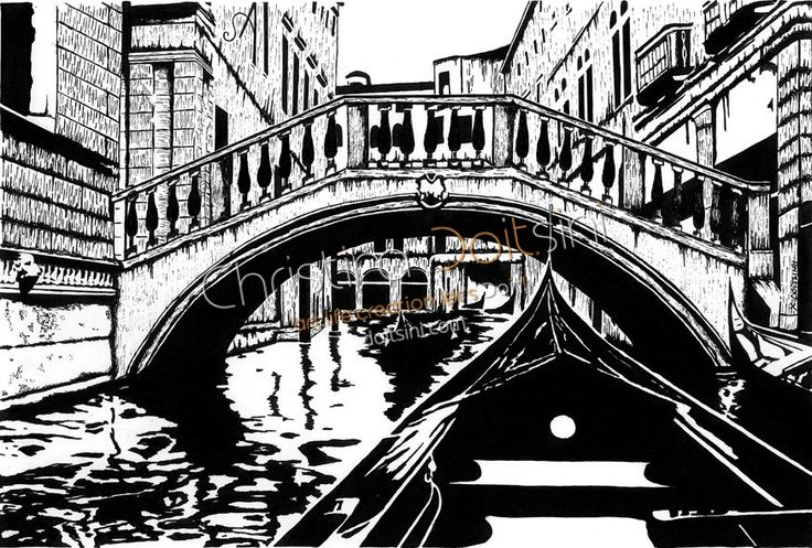 Venice. Black and white ink drawing by Christina Doitsini.