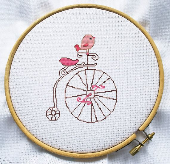 Сross stitch pattern PDF Instant Download - Bird on a bike