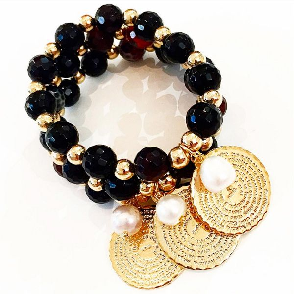 Bracelets By Vila Veloni Coin And Stone Black