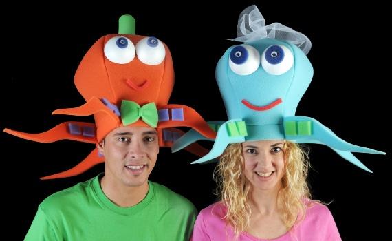 Gorros de gomaespuma con divertidos colores y con forma de pulpo, especialmente diseñados para los novios. ¡¡¡ Diviértete !!!