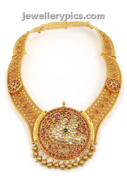 C krishnah Chetty sons Heritage necklace collection designs with ruby emarald and pearl - Latest Jewellery Designs