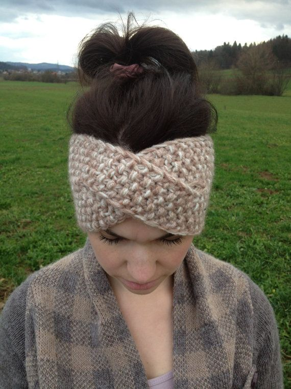 Knitted ear warmer, twisted headband