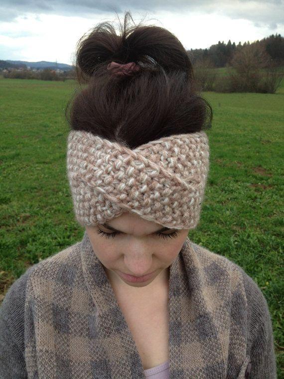 Knitted ear warmer, twisted headband
