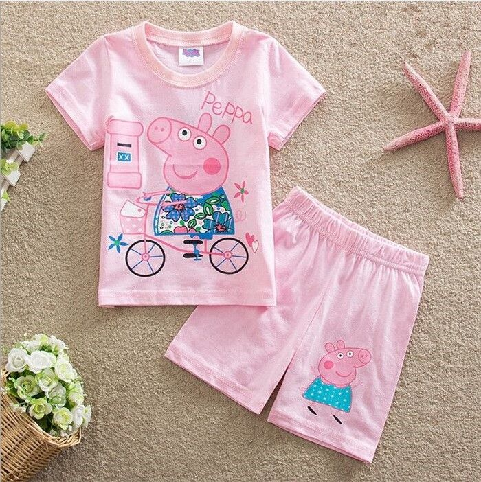 Cheap children pajamas cotton, Buy Quality children's pajamas directly from China pajamas children Suppliers: 2017 summer style baby girl clothing set children's pajamas cotton pep pig o-neck pijama set infantil sleepwear free shipping