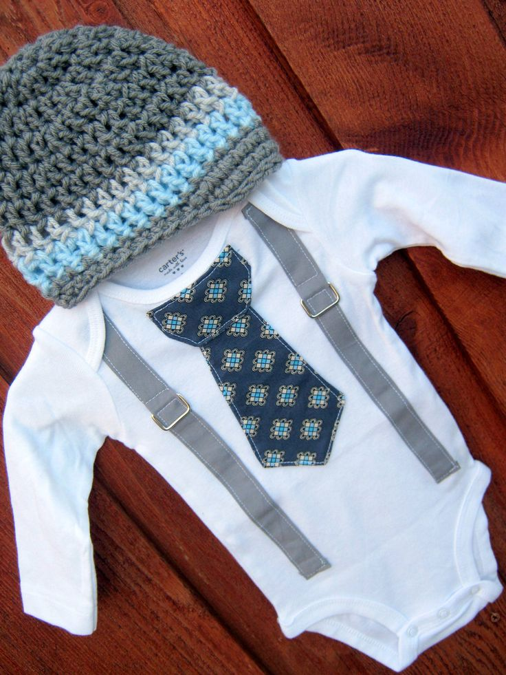 Get the set blue and grey tie boy onesie or shirt with suspenders and crocheted