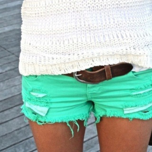 mint shorts love that color: Mint Shorts, Mint Green, Color Shorts, Dream Closet, Bright Shorts, Dreamcloset, Teal Shorts, Green Shorts, Old Jeans