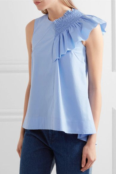 Cédric Charlier - Ruffled Smocked Cotton-blend Top - Sky blue - IT46