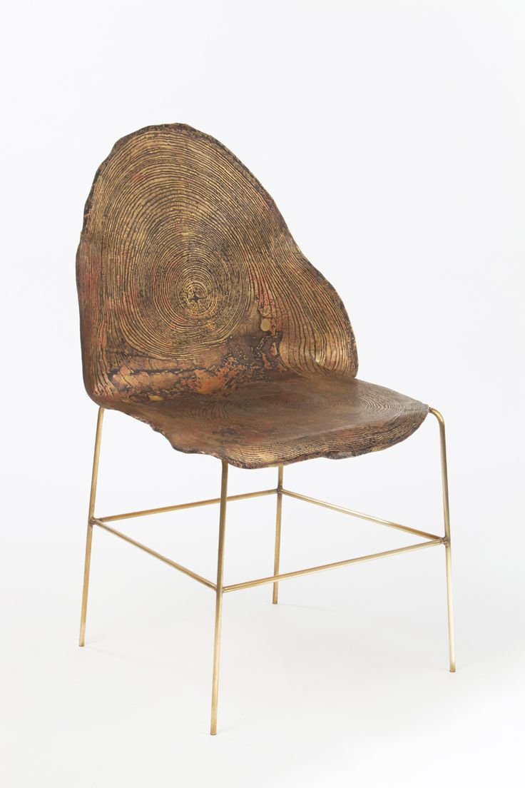 Designer metal chairs - Sharon Sides Acid Etched Metal Stump Metal Chairswood Chairsdesigner