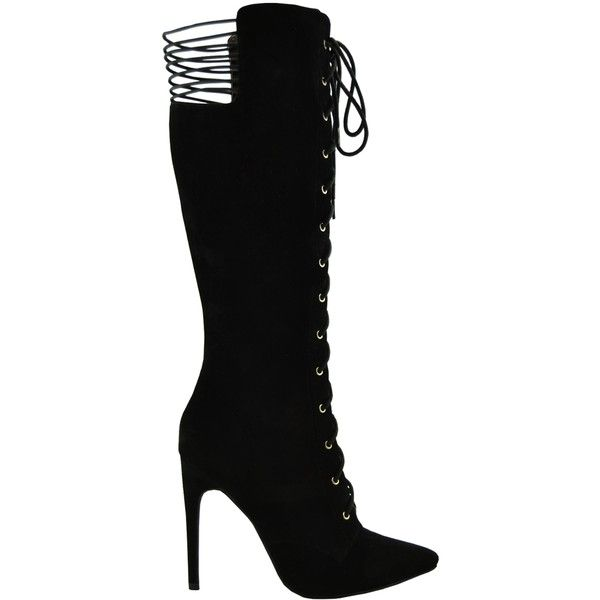 Womens Knee High Boots Faux Suede Lace Up Stiletto Shoes black SZ 5.5 ($40) ❤ liked on Polyvore featuring shoes, boots, black, black boots, lace up stiletto boots, black stilettos, knee boots and zipper boots