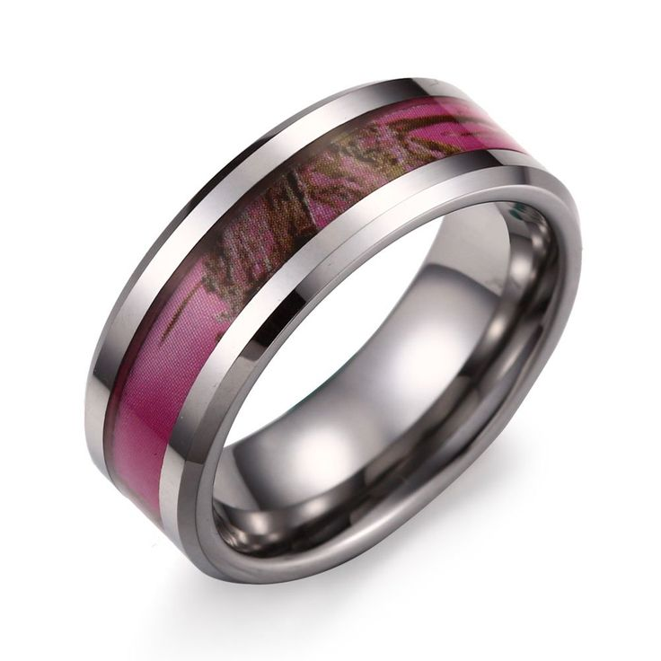 "Caperci 8MM Men's Hunting Camouflage Tungsten Wedding Band Pink Camo Ring Size 7. Material:Tungsten Carbide. Features: Polished Shiny,Abstract Camo Design. Size: US7-13, including half sizes. Width: 8mm,Weight: 20g. Gender for men,comes with one black velvet bag printed ""Caperci"" on it."