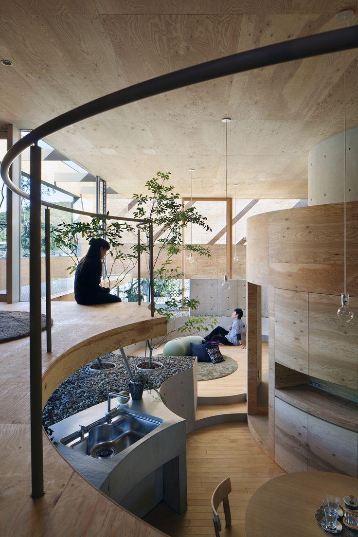 UID Architects, Pit House, Okayama, Japan Beautiful Timber Finish To The  Interior.