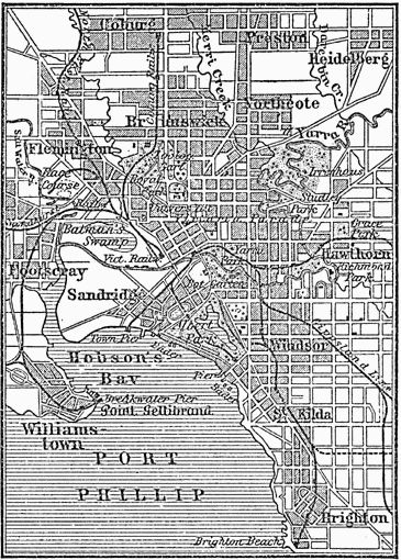 A map dating to the 1880s shows the well-established suburbs of Melbourne.
