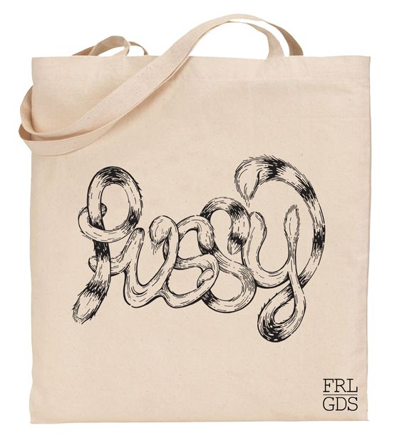 Pussy Cat Tail Tote hand illustrated by Maritsa Odendaal.  Exclusive to Feral Goods