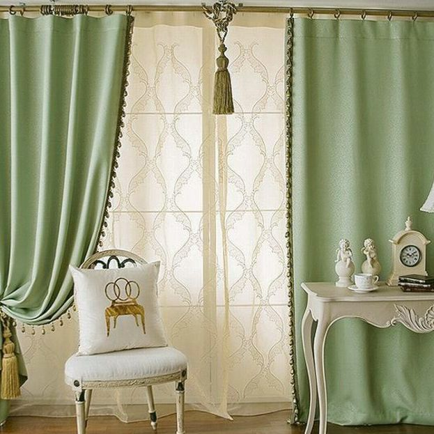 Solid Green Color Elegant Blackout Living Room Curtains(Two Panels .