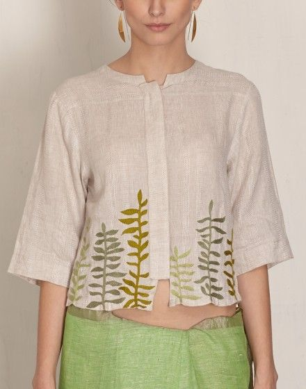 The blouse pattern has scope for a saree with the loose drape ( minus the embroidery , of course) Tree Embroidery Linen Blouse-Anavila